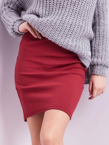 Bordowa mini spódnica ołówkowa w prążek