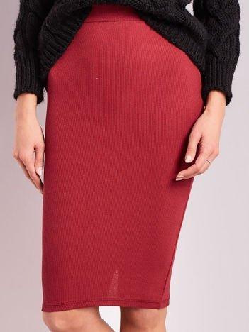 Bordowa prążkowana spódnica midi