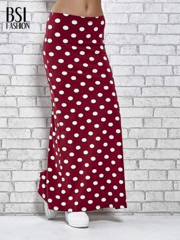 Bordowa spódnica maxi w grochy