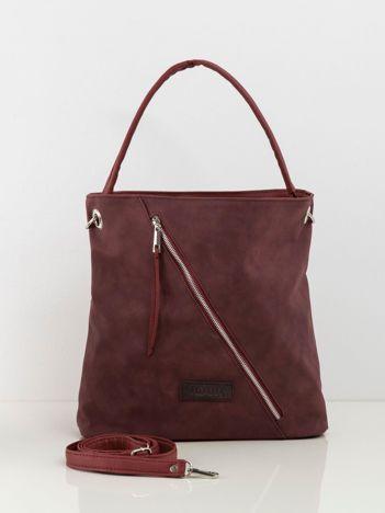 Bordowa torba damska z odpinanym paskiem