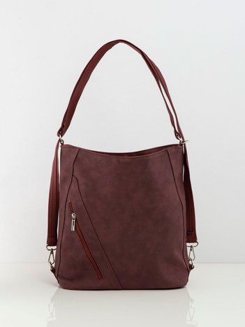Bordowa torba damska ze skóry ekologicznej