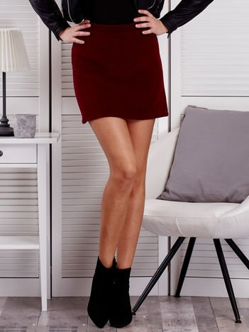 Bordowa trapezowa spódnica mini