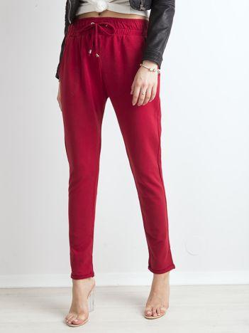 Bordowe bawełniane spodnie dresowe z troczkami