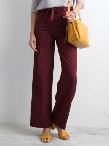 Bordowe damskie szerokie spodnie