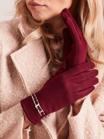 Bordowe klasyczne rękawiczki z klamerką