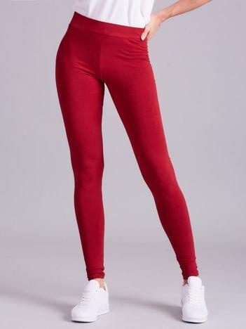 Bordowe legginsy damskie gładkie