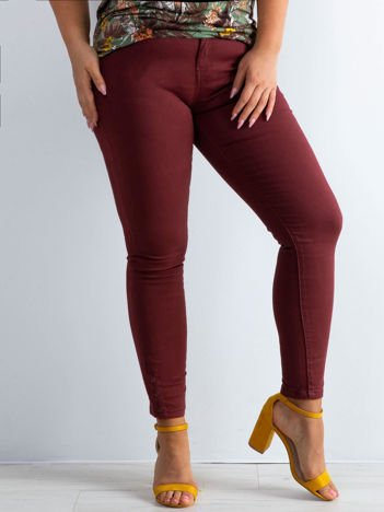 Bordowe spodnie skinny PLUS SIZE