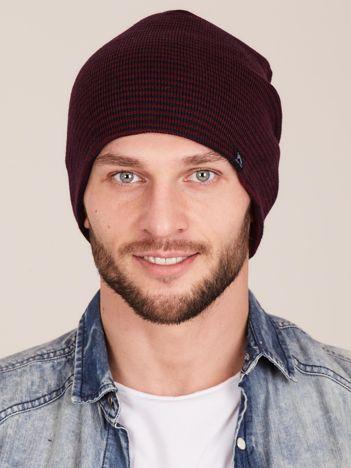 Bordowo-granatowa czapka męska w drobne paski