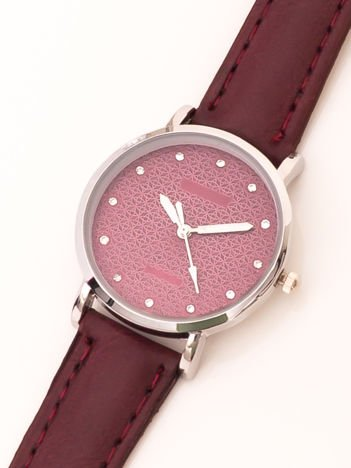 Bordowy Mały Zegarek Damsk Z Kryształami Na Tarczy