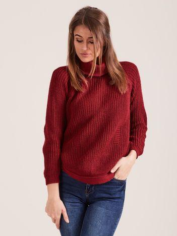 Bordowy damski sweter golf