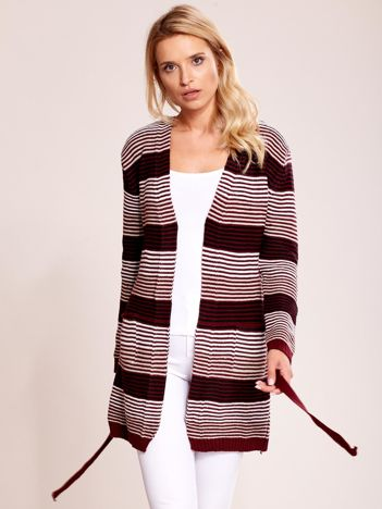 Bordowy długi sweter w paski z kieszeniami i wiązaniem