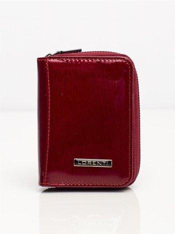 Bordowy mały portfel skórzany