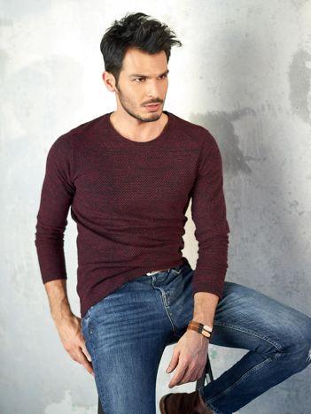 Bordowy melanżowy sweter męski