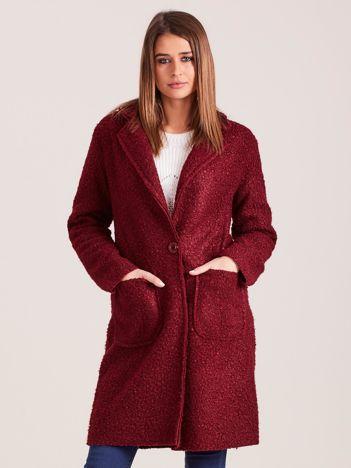 Bordowy płaszcz boucle