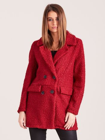 Bordowy płaszcz dwurzędowy