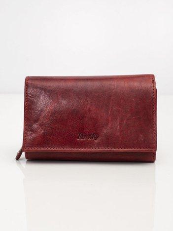 Bordowy portfel ze skóry naturalnej