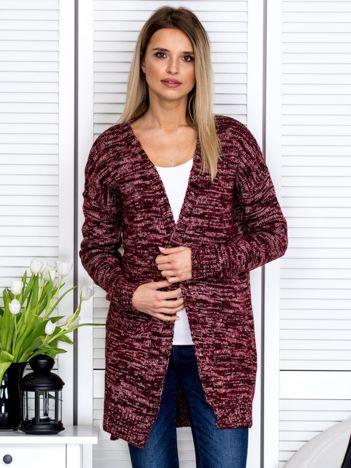 Bordowy sweter melange z kieszeniami