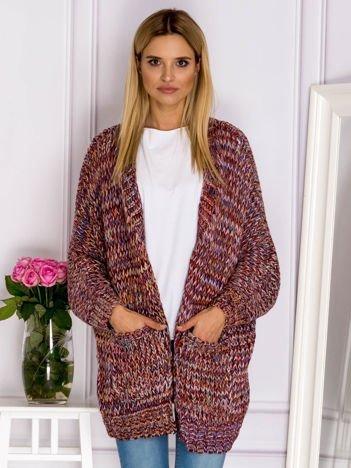 Bordowy sweter z kolorową nitką