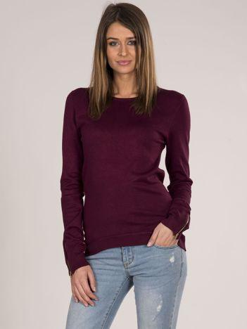 Bordowy sweter z suwakiem