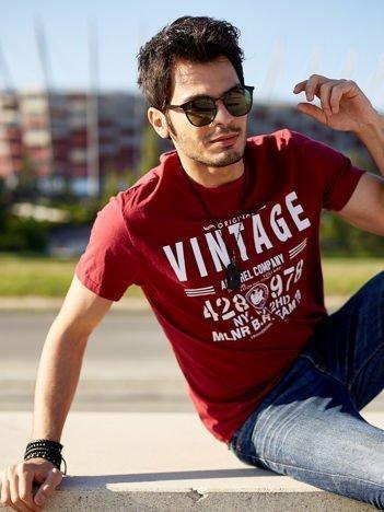 Bordowy t-shirt męski Vintage