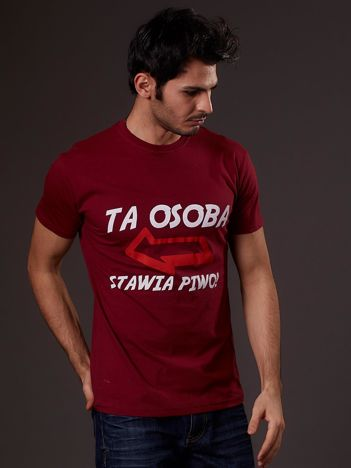 Bordowy t-shirt męski z zabawnym napisem