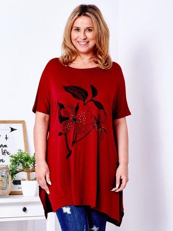 Bordowy t-shirt z kwiatem PLUS SIZE