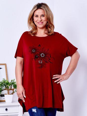 Bordowy t-shirt z kwiatowym printem PLUS SIZE
