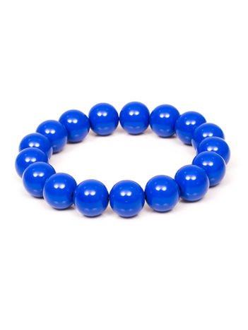 Bransoletka damska na gumce z niebieskimi perełkami