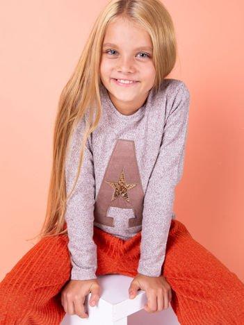 Brązowa bluza dla dziewczynki z literą