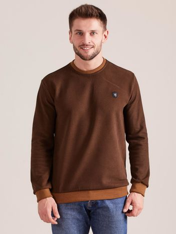 Brązowa bluza męska w drobny geometryczny wzór