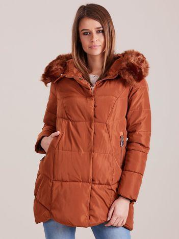 Brązowa damska kurtka zimowa