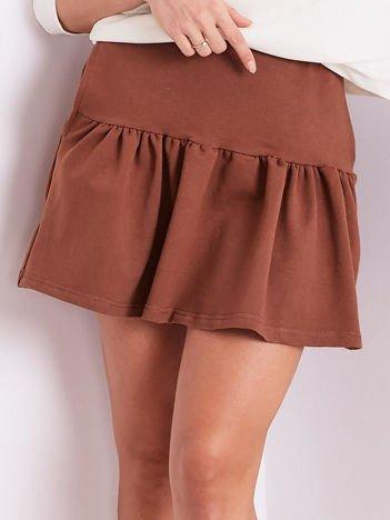 Brązowa dresowa spódnica z falbaną