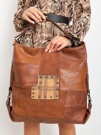 Brązowa duża torba z eko skóry