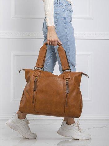 Brązowa duża torba ze skóry ekologicznej
