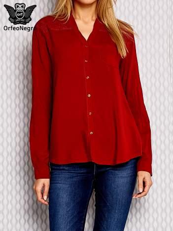 Brązowa koszula z haftowanym wzorem