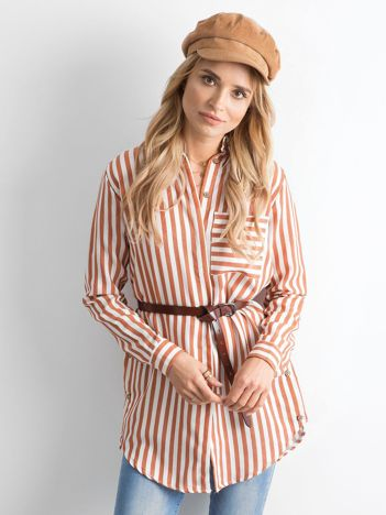Brązowa luźna koszula w paski