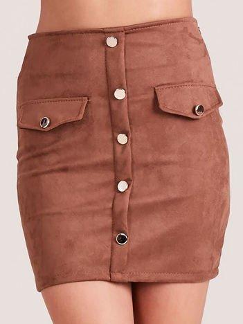Brązowa ołówkowa spódnica z imitacji zamszu
