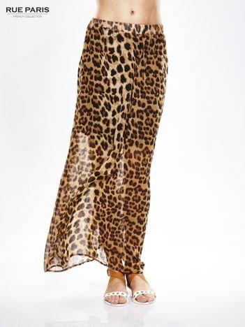 Brązowa panterkowa długa spódnica maxi