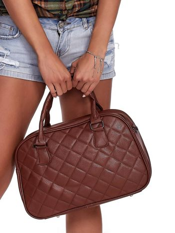 Brązowa pikowana torba z ekoskóry