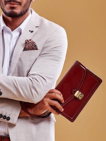 Brązowa skórzana torba męska z uchwytem