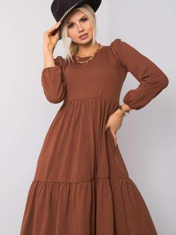 Brązowa sukienka Yonne RUE PARIS