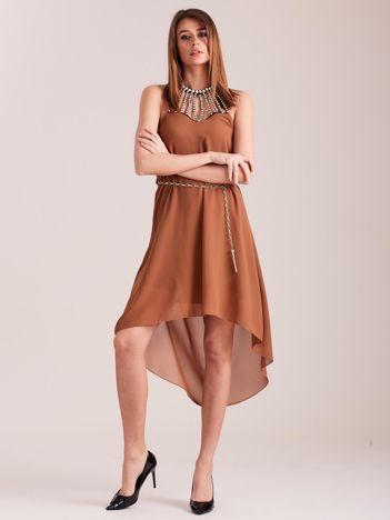 Brązowa sukienka z aplikacją