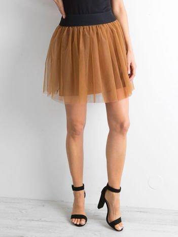 Brązowa tiulowa spódnica mini