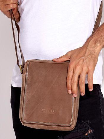 Brązowa torba męska skórzana na ramię