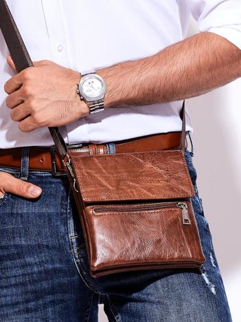 Brązowa torba męska z klapką