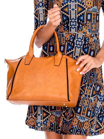 Brązowa torba shopper bag z ozdobnymi suwakami