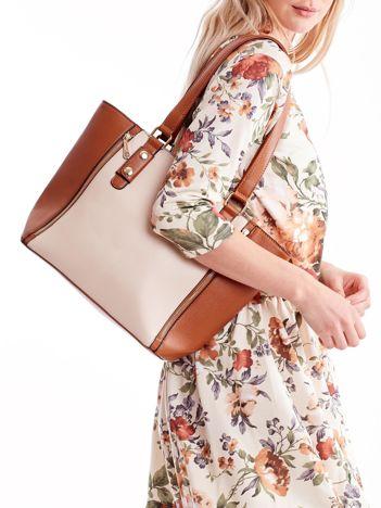 Brązowa torba shopper bag ze złotymi suwakami