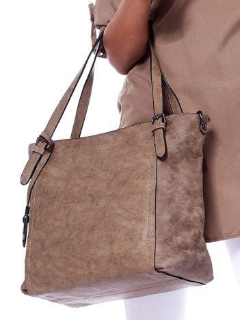 Brązowa torba shopperka z wyjmowaną kosmetyczką