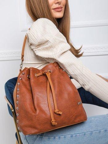 Brązowa torba worek z ćwiekami
