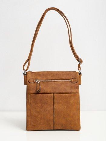 Brązowa torba z zewnętrzną kieszenią